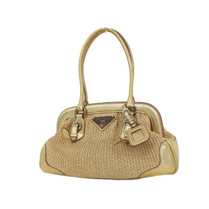 PRADA Prada straw jute handbag shoulder leather gold [20180913]