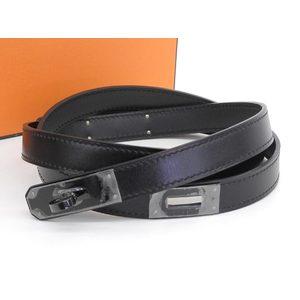 HERMES Hermes Box Scarf So Black Kelly Belt 85 □ N engraved [20180824]