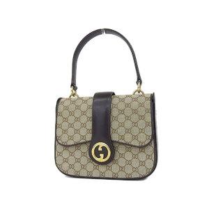 GUCCI Gucci Old GG Canvas Handbag Shoulder Vintage × Leather Brown [20180831]