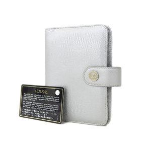 CHANEL Chanel Coco Mark button caviar skin Agenda notebook cover 6 hole type silver [20180824]