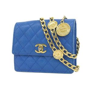 CHANEL Chanel Matrasse chain waist pouch caviar skin blue turn lock coco mark bag [20190117]