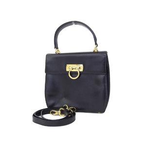 Ferragamo Gancini 2way Handbag Shoulder Vintage Leather Black Gold [20180831]