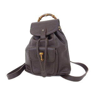 GUCCI Gucci Bamboo Vintage Rucksack Backpack Leather Brown [20180831]