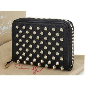 Christian Louboutin Panettone Spike Studs Round Fasteners Coin Case Black [20180831]