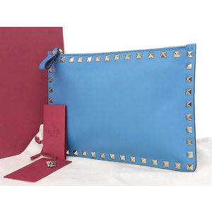 VALENTINO Valentino Lock Studs Leather Clutch Bag Second Pouch Blue [20180914]