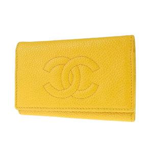 CHANEL Chanel Coco Mark Caviar Skin Vintage 6-piece Key Case Yellow [20180914]