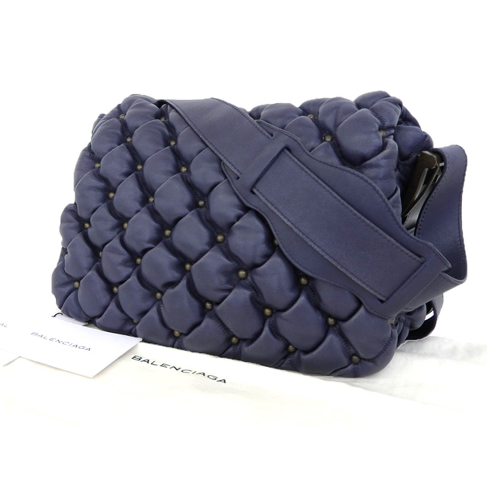 BALENCIA GA Balenciaga quilted studded leather shoulder bag hand navy blue [20180920]