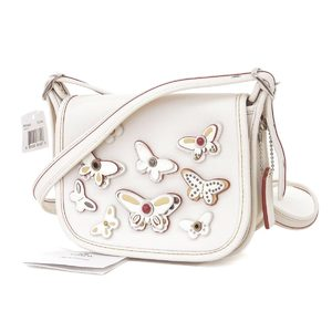 COACH Coach Butterfly Leather Pochette Shoulder Bag Studs White Silver Hardware [20180913]