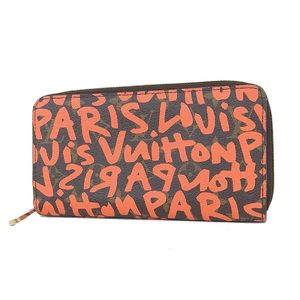LOUIS VUITTON Louis Vuitton Monogram Graffiti Zippy Wallet Round zipper Long wallet Orange M93711 [20181012]