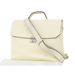 Valextra Forum 2way Briefcase Leather Shoulder Document Bag Business White [20180913]