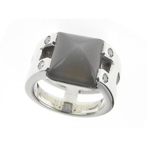エルメス(Hermes) HERMES エルメス メドールリング 指輪 4Pダイヤモンド SV925 シルバー 9号 51 [20180824]