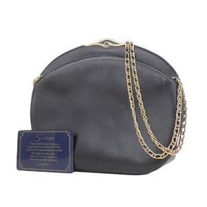 Cartier Sapphire Line Leather Vintage Pochette Chain Shoulder Bag Black Gold [20180914]