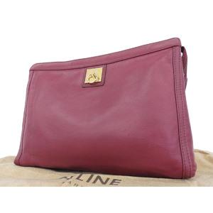 CELINE Celine vintage leather clutch bag second red Bordeaux [20180914]