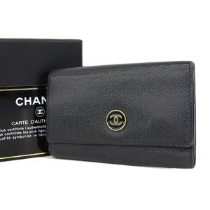 CHANEL Chanel Coco Mark Button Leather 6 Series Key Case Black 9th [20180914]