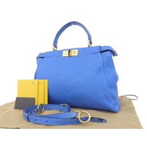 FENDI Fendy Peekaboo 2way Handbags Celeria Blue Shoulder [20190111]