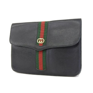 GUCCI Gucci interlocking sherry line GG canvas vintage clutch bag second pouch black [20180914]