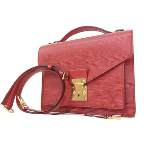 LOUIS VUITTON Louis Vuitton Epi Monsor Handbag Shoulder Red Castile M52127 [20181018]