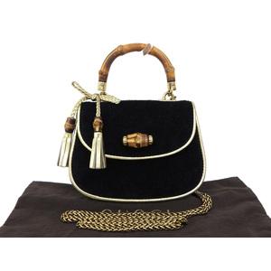 GUCCI Gucci Bamboo Suede Mini Handbag Chain Shoulder Fringe Black 269969 [20180920]
