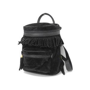 GUCCI Gucci Fringe Rucksack Vintage Suede Leather Black Backpack [20181130]