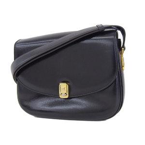 CELINE Celine Macadam bracket vintage handbag shoulder leather black [20181026a]