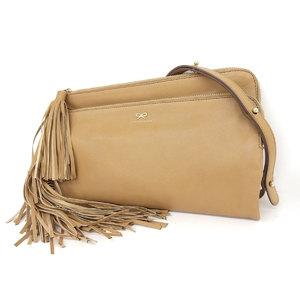 Anya Hindmarch Hind March Leather Fringe Folded Shoulder Bag Clutch Second Brown [20181018]