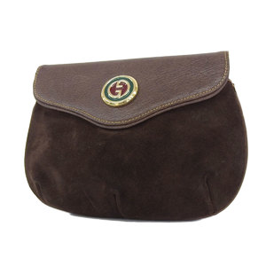 GUCCI Gucci Suede Interlocking Vintage Pouch Clutch Bag Second Brown [20181026a]