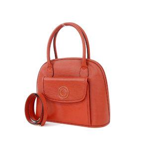CELINE Celine Circle Bracket Vintage Handbag Shoulder 2WAY Coated Leather Red [20181026b]