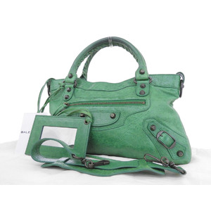 BALENCIAGA Balenciaga City 2way handbag shoulder studs leather green [20181018]