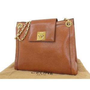 CELINE Celine Gancini Bracket Leather Chain Shoulder Bag Brown [20181026a]