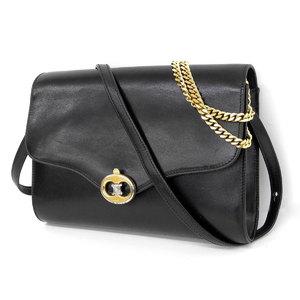 CELINE Celine Macadam hardware 2 way chain shoulder bag vintage leather black second clutch [20190111]