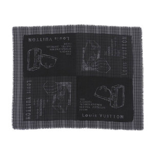 LOUIS VUITTON Louis Vuitton LV Trunk Large format stall Shawl Check Pattern Black Noir Gray Scarf M72924 [20190111]