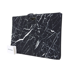 BALENCIA GA Balenciaga crack pattern second bag large canvas black white documents clutch [20181109]