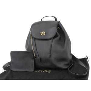 CELINE Celine Circle bracket leather backpack rucksack black [20181026b]