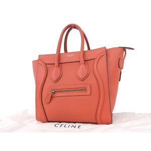 CELINE Celine Luggage Micro Shopper Tote Bag Leather Orange Hand [20181109]