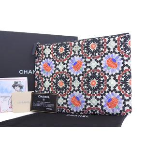 シャネル(Chanel) CHANEL シャネル 2014年 クリスマス限定 マトラッセ 花柄 セカンドバッグ マルチ 黒 ブラック クラッチ A82074 フラワー [20190131]