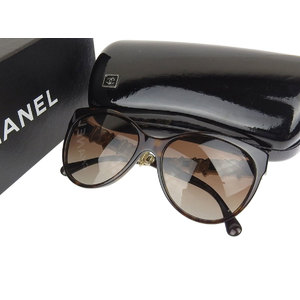 CHANEL Chanel Coco Mark Fox Frame Faux Pearl Sunglasses Eyewear Brown Gold c.714 / S9 [20181031]