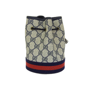 GUCCI Gucci Shelly Drawstring Type Pouch GG Pattern Navy [20190131]