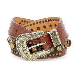 LOUIS VUITTON Louis Vuitton Ladies Color Stone Belt Brown Multicolor Gold Hardware 70/28 [20181026a]