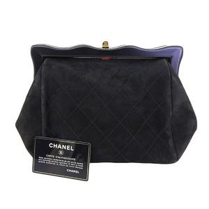 8150a6cfa4f7 CHANEL Chanel Matrasse Gamaguchi Second Bag Suede Black Pouch Clutch  [20190131]