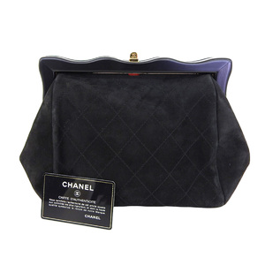 85e67a75df1b1c CHANEL Chanel Matrasse Gamaguchi Second Bag Suede Black Pouch Clutch  [20190131]