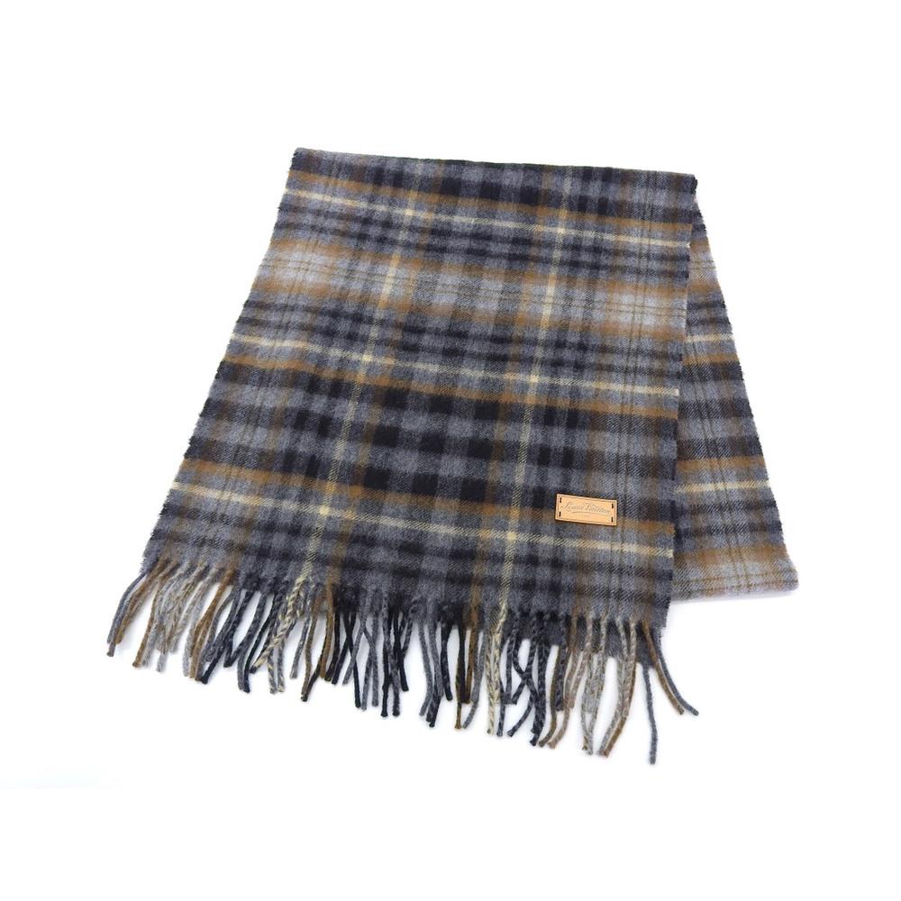 LOUIS VUITTON Louis Vuitton tartan scarf Scarf shawl cashmere wool gray [20190131]