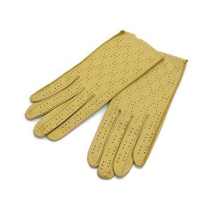HERMES エルメス Hパンチング グローブ 手袋 ラムレザー 黄色 イエロー L [20190207]