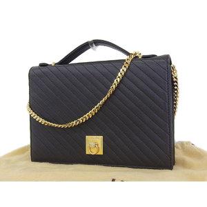 CELINE Celine Gancini metal fittings vintage 2way handbag chain shoulder second leather black [20181026a]