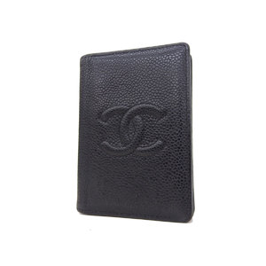 シャネル(Chanel) CHANEL シャネル ココマーク カードケース 名刺入れ キャビアスキン 黒 ブラック 8番台 [20181109]