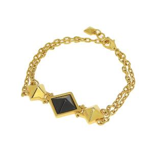 FENDI Fendi Studs Stone Double Chain Bracelet Gold Black [20190207]