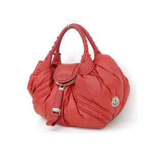 Fendi Spy Nylon,Leather Handbag Red