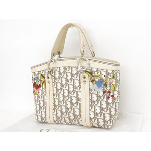 Christian Dior Trotter Floral Pattern CD Bracket Tote Leather Canvas White Off-White Hand [20190130]