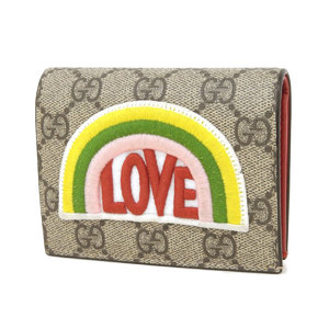 GUCCI Gucci boutique line GG compact wallet rainbow LOVE coin case card business holder [20190123]