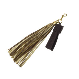 LOUIS VUITTON Louis Vuitton Felted Leather Fringe Tassel Bag Charm Key Holder Gold [20181018]