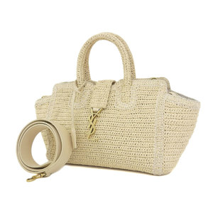 SAINT LAURENT Saint Laurent Downtown Kabas 2way handbag Raffia natural beige YSL [20190121]